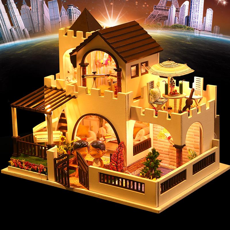 那家小屋diy小屋梦幻城堡手工制作拼装模型小房子别墅生日礼物