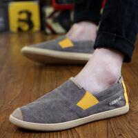 夏季透气帆布鞋男士牛仔帆布鞋老北京布鞋懒人鞋一脚蹬韩版休闲鞋