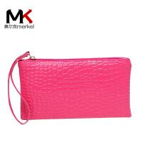 莫尔克(MERKEL)新款女零钱包小手包韩版时尚鳄鱼纹手腕包迷你手拿包