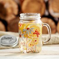 爱屋格林带盖创意玻璃水杯公鸡杯梅森杯子啤酒杯玻璃杯800ML