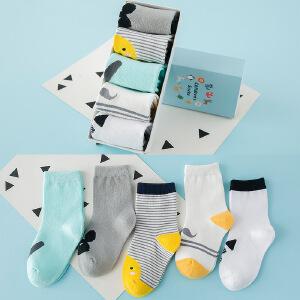 2017春夏薄款可爱卡通童袜 短筒棉袜5双盒装儿童袜子