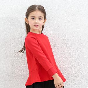 amii童装2017春新款女童长袖T恤中大童儿童宽松荷叶边上衣女