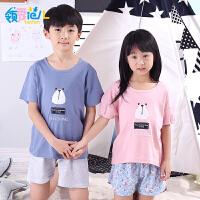 领秀范儿男童儿童睡衣夏季短袖纯棉卡通男孩中大童小孩家居服棉质女童套装