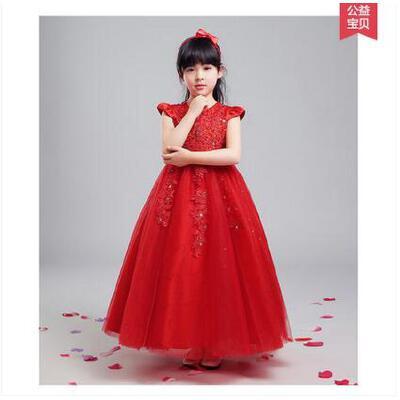 欧式时尚蓬蓬裙精美刺绣长款表演女童公主裙儿童婚纱公主裙韩版花童