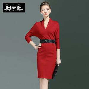海青蓝2017春季新款纯色七分袖修身OL一步裙气质包臀连衣裙女6427