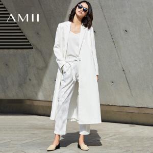 【预售】Amii2017春季新款金属扣西装领宽松长款西装外套女白色