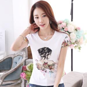 【当当年中庆】2017 T恤女短袖春夏新款纯白色tshirt修身打底衫学生简约
