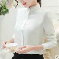 衬衫女 新款韩版修身百搭小清新花边加厚加绒修身长袖打底白衬衫