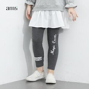 amii童装2017春装新款女童打底裤中小童字母休闲裤儿童裤子长裤