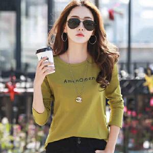 2017春装新款女装上衣纯棉长袖t恤女韩版宽松打底衫体恤女长袖WK5193