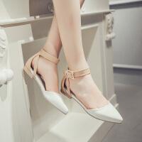 彼艾2017春季新款韩国尖头低跟浅口单鞋女平底一字搭扣中空女鞋子