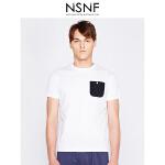 NSNF纯棉撞色口袋白色短袖T恤 2017年春夏新款