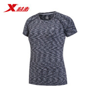 特步女运动短袖 2017春夏新款轻薄透气圆领时尚舒适运动T恤条纹883128019097