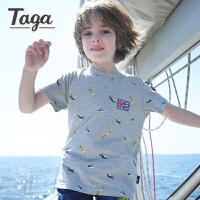 【满200-100】【夏装上新】  taga童装男童短袖t恤儿童圆领针织衫薄款夏装2017新款印花T恤衫