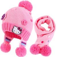 女童帽子围巾两件套装冬儿童保暖针织围脖宝宝毛线帽