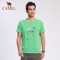 camel骆驼户外男款T恤 春夏休闲短袖圆领T轻薄透气T男士