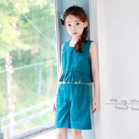 新品夏装韩版女童套装网纱拼接背心+短裤亲子装套装