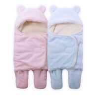 Yinbeler婴儿睡袋冬款新生儿襁褓宝宝分腿加厚加绒抱毯抱被包被法兰绒带帽防踢被子