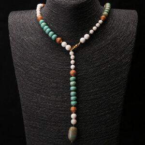 【只有一个】砗磲松石花丝珠项链