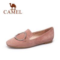 camel骆驼女鞋 2017新款时尚镶钻金属圆扣平底乐福鞋磨砂羊琼单鞋