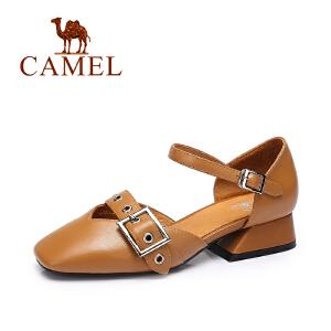 camel骆驼女鞋 2017春夏新款 欧美复古方头鞋 时尚异型跟低跟单鞋