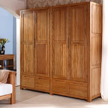 实木衣柜 两门/三门/四门组合衣柜 大衣橱 现代中式 金丝柚木 y111