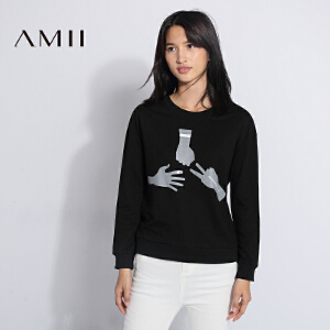 【AMII超级大牌日】[极简主义]2017年春款圆领印花休闲长袖棉套头卫衣女21673415
