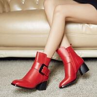娜箐箐冬新款欧美头层牛皮方头粗跟短靴女鞋真皮中跟女式皮靴