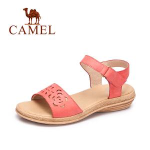 Camel/骆驼女鞋 2017春夏新款休闲简约女鞋镂空一字魔术贴凉鞋女