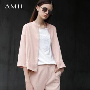 Amii[极简主义]2017春新宽松罗纹棒球领拉链插袋开衩外套11770310