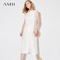 Amii[极简主义]2017夏装新款大码无袖休闲翻领印花连衣裙11783058