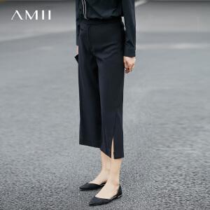 Amii[极简主义]2017夏新女大码休闲开衩拼接七分裤女11780261