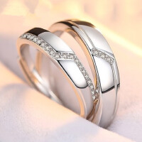S925情侣戒指男女纯银首饰品一对指环对尾婚戒简约开口刻字