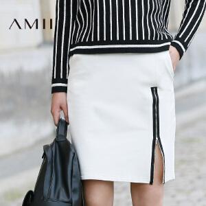 【AMII超级大牌日】[极简主义]2017年春装新款撞色拉链修身包臀裙大码半身裙女短裙