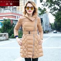 小虫 秋冬新款欧美时尚卡其色收腰显瘦长款加厚羽绒服女外套女