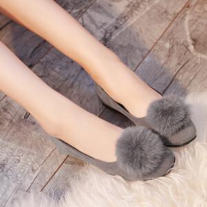 2017新款毛绒球单鞋女低帮鞋浅口套脚圆头乐福鞋休闲百搭平底女鞋豆豆鞋ZR-A16