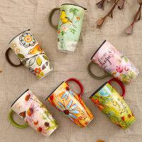 爱屋格林evergreen手绘陶瓷杯礼盒装创意咖啡杯带盖水杯子马克杯
