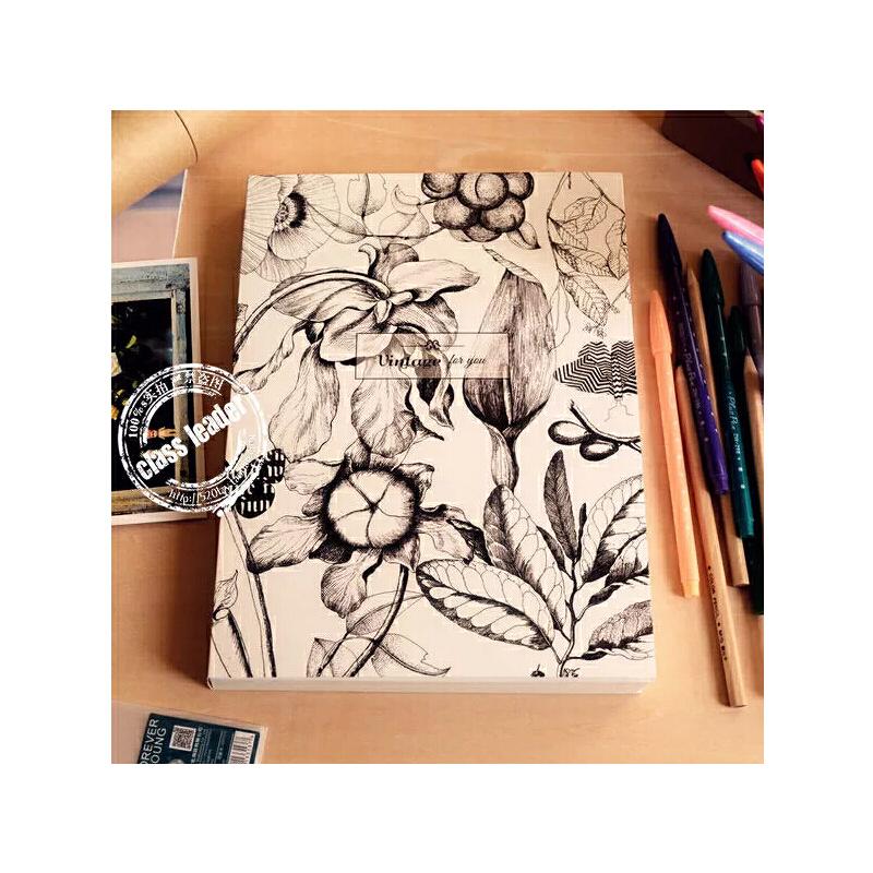 笔记本子 黑白创意空白素描本记事本速写手绘画大日记本_白色