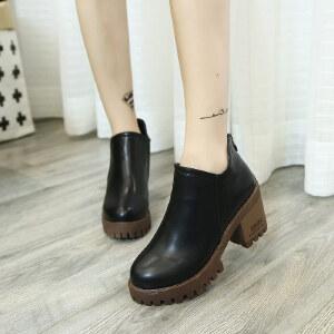 妃枫霏冬季英伦女单靴圆头中跟套筒鞋靴防水台休闲复古简约单鞋