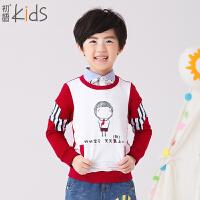 初语童装 冬装新款男童卫衣 圆领撞色套头圆领可爱卫衣T5305210101