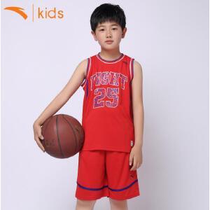 安踏童装篮球服套装儿童夏季训练服无袖男球衣两件套短裤35621201
