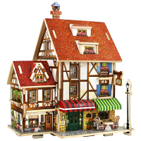 若态木质手工DI法园咖啡店立体拼图世界风情建筑儿童玩具成人益智玩具 拼装达人 建筑收藏
