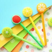 三年二班●韩国文具 可爱水果棒棒糖中性笔创意针管水笔黑色0.5mm