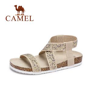 camel/骆驼女鞋 2017春夏新款 休闲罗马风水钻弹力布凉鞋平底防滑沙滩鞋