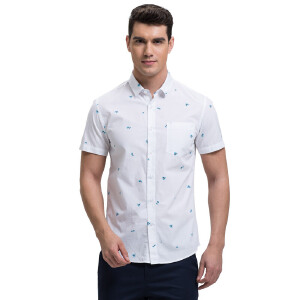才子男装(TRIES)短袖衬衫 男士2017年新款清新印花简约百搭休闲短袖衬衫