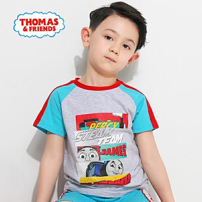 托马斯童装男童2017夏款新品时尚圆领纯棉托马斯印花短袖上衣T恤