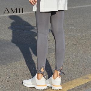 Amii[极简主义]2017春季纯色薄款修身大码女九分打底裤11730047