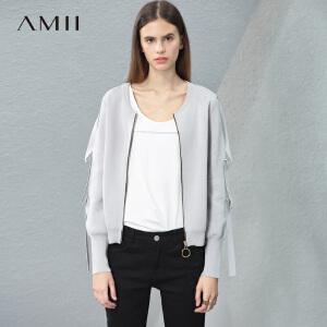 【预售】Amii2017春新圆领圆环拉链宽松层次拼条针织衫11791351