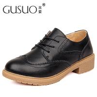 古索GUSUO休闲鞋女英伦小皮鞋女士平底真皮单鞋