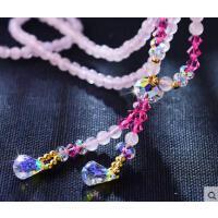 简约清新时尚百搭挂件长款韩国天然粉水晶石毛衣项链 女